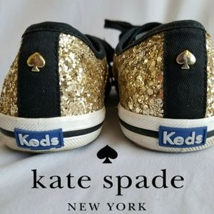Kate Spade KEDS sneakers gold glitter! Like New!